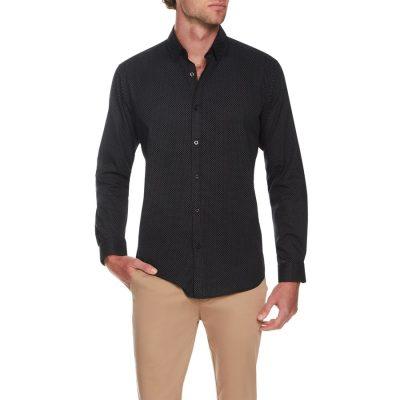 Fashion 4 Men - Tarocash Spot Print Shirt Navy M
