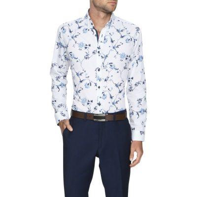 Fashion 4 Men - Tarocash Yates Slim Floral Shirt White L