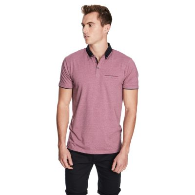 Fashion 4 Men - yd. Bajo Ss Polo Deep Pink S