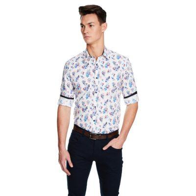 Fashion 4 Men - yd. Ballina Floral Slim Fit Shirt White Xxxl