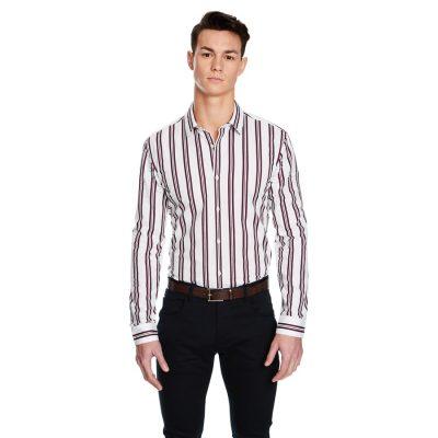 Fashion 4 Men - yd. Benny Stripe Slim Fit Shirt Burgundy S