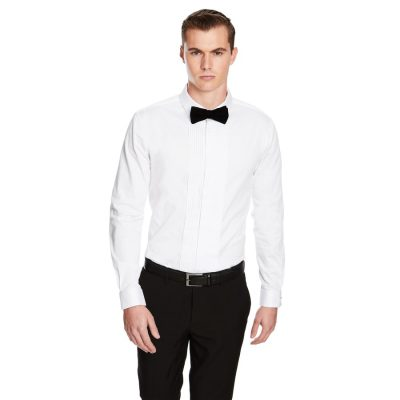 Fashion 4 Men - yd. Caviar Pleated Slim Fit Dress Shirt White M