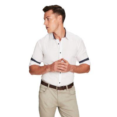 Fashion 4 Men - yd. Contrast Flamingo Slim Fit Shirt White 3 Xs