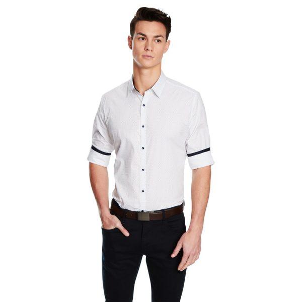 Fashion 4 Men - yd. Dice Slim Fit Shirt White M