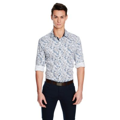 Fashion 4 Men - yd. Elon Slim Fit Shirt Blue Print 3 Xs