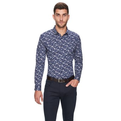 Fashion 4 Men - yd. Gallop Floral Shirt Dark Blue M