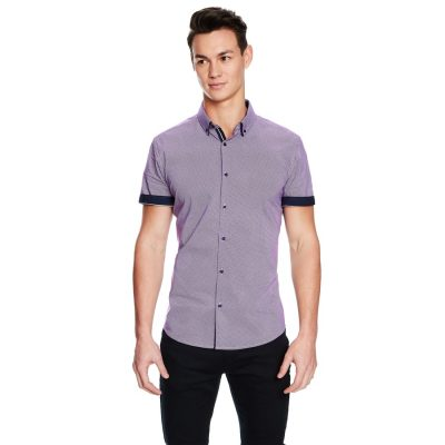 Fashion 4 Men - yd. Leeman Slim Fit Ss Shirt Purple 2 Xs