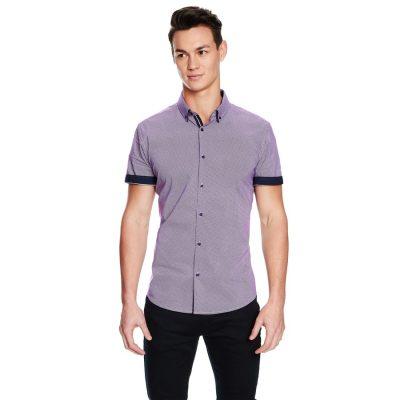 Fashion 4 Men - yd. Leeman Slim Fit Ss Shirt Purple S