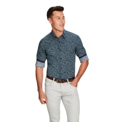 Fashion 4 Men - yd. Maritz Slim Fit Shirt Navy Print M