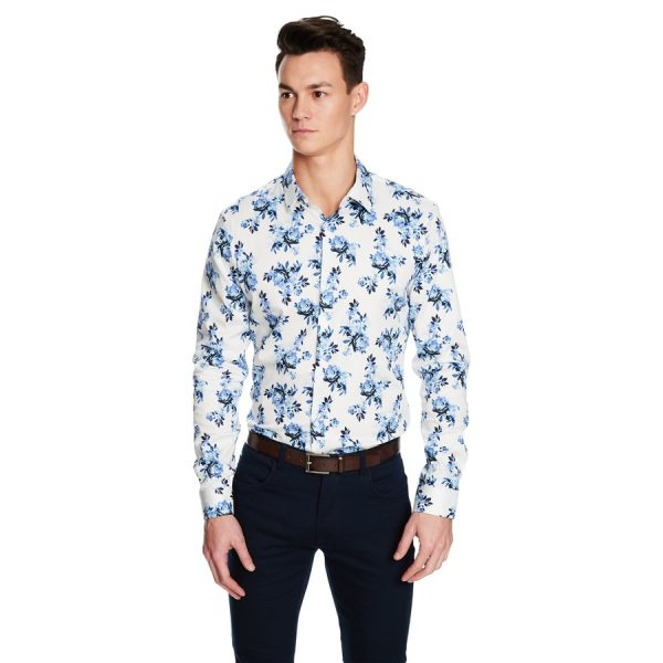 Fashion 4 Men - yd. Maui Floral Slim Fit Shirt White M