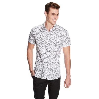 Fashion 4 Men - yd. Mid Floral Ss Shirt Black/White M