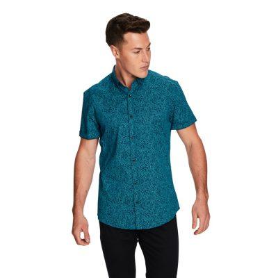 Fashion 4 Men - yd. Paisley Teal Slim Fit Ss Shirt Teal M