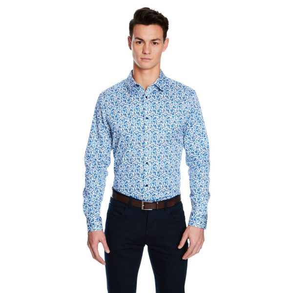 Fashion 4 Men - yd. Strike Floral Slim Fit Shirt Blue 2 Xs