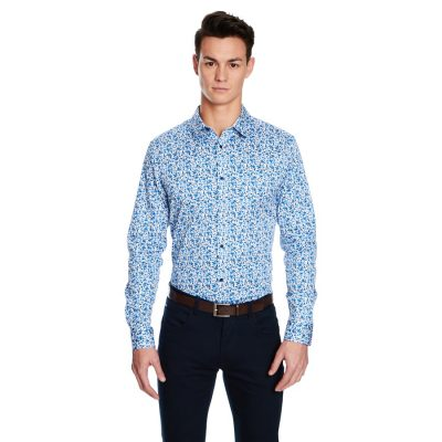 Fashion 4 Men - yd. Strike Floral Slim Fit Shirt Blue M