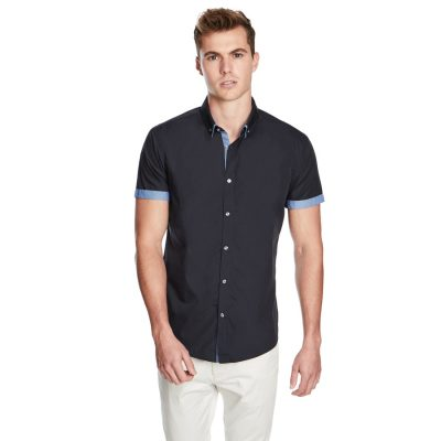 Fashion 4 Men - yd. The Town Slim Fit Ss Shirt Navy L