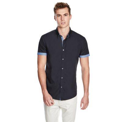 Fashion 4 Men - yd. The Town Slim Fit Ss Shirt Navy M