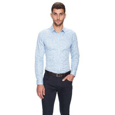 Fashion 4 Men - yd. Valentine Paisley Slim Fit Shirt Light Blue S