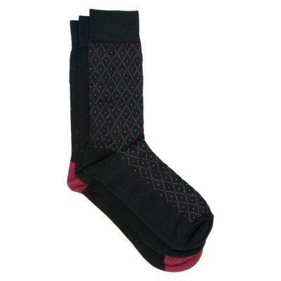 Fashion 4 Men - Tarocash 3 Pack Pattern Socks Black 1