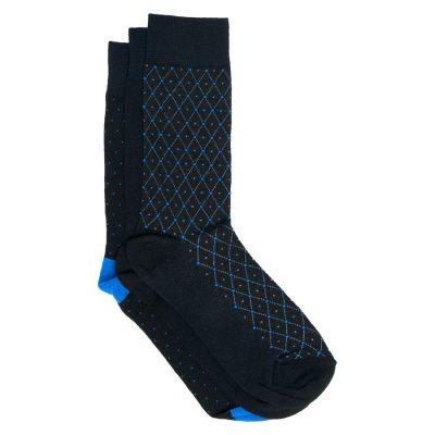 Fashion 4 Men - Tarocash 3 Pack Pattern Socks Navy 1