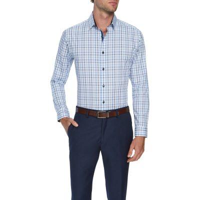 Fashion 4 Men - Tarocash Central Slim Check Shirt Blue M