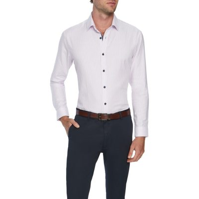 Fashion 4 Men - Tarocash Como Slim Stripe Shirt Pink S