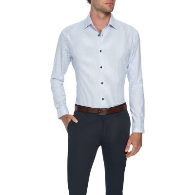 Fashion 4 Men - Tarocash Como Slim Stripe Shirt Sky L