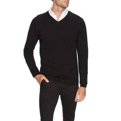 Fashion 4 Men - Tarocash Essential V Neck Knit Black Xs