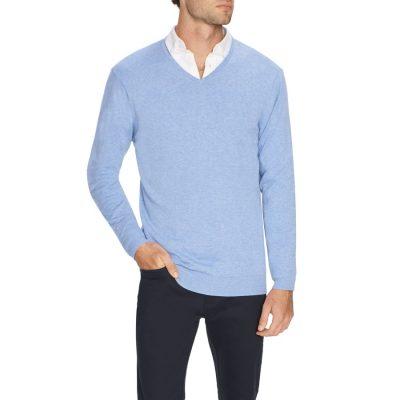 Fashion 4 Men - Tarocash Essential V Neck Knit Sky Xs
