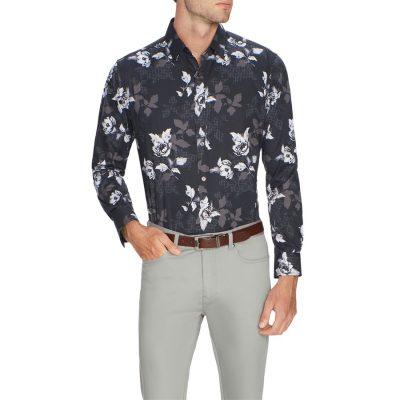 Fashion 4 Men - Tarocash Floral Geo Print Shirt Black L