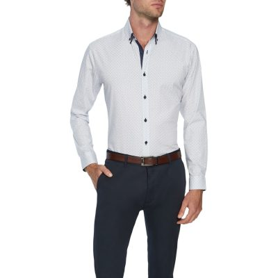 Fashion 4 Men - Tarocash Foster Slim Stretch Shirt White Xxl