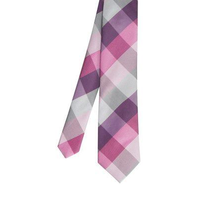 Fashion 4 Men - Tarocash Harvey Large Check Tie Pink 1