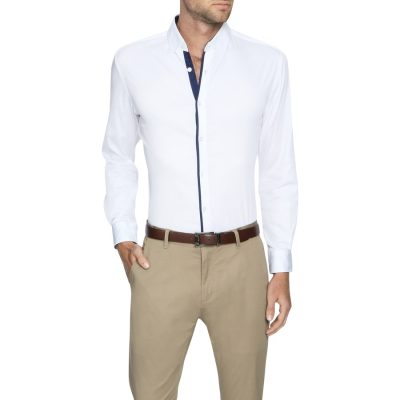 Fashion 4 Men - Tarocash Howard Slim Stretch Shirt White L