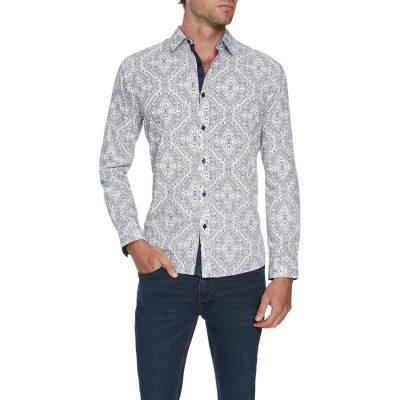 Fashion 4 Men - Tarocash Ironside Print Shirt Navy S