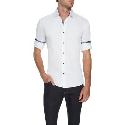 Fashion 4 Men - Tarocash Pratt Slim Stretch Shirt White Xxxl