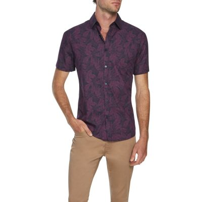 Fashion 4 Men - Tarocash Tropic Print Shirt Berry Xl