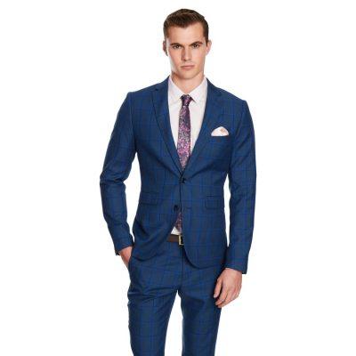 Fashion 4 Men - yd. Dean Skinny Fit Suit Jacket Blue Check 2 Xs
