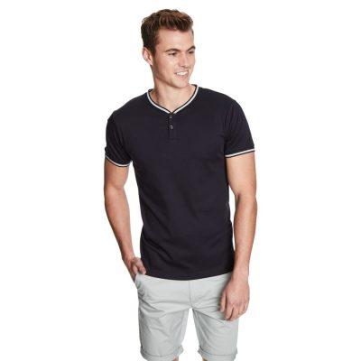 Fashion 4 Men - yd. Stripe Henley Mercerized Ss Tee Navy L