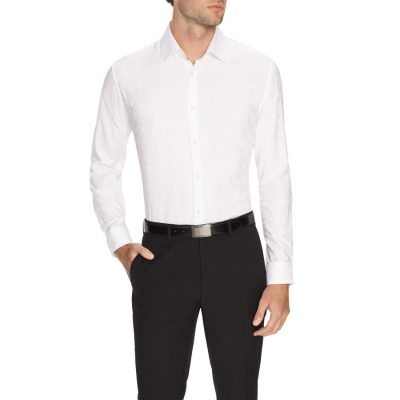 Fashion 4 Men - Tarocash Anson Jacquard Dress Shirt White Xs