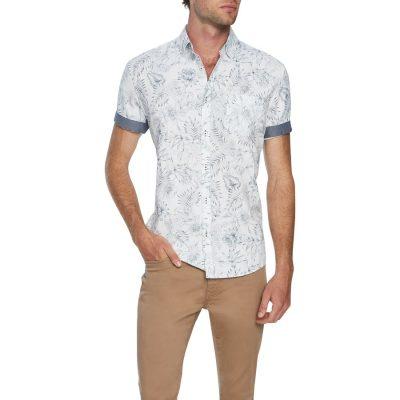 Fashion 4 Men - Tarocash Barnaby Print Shirt White Xl