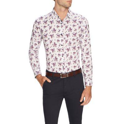 Fashion 4 Men - Tarocash Blanc Slim Floral Print Shirt White 5 Xl