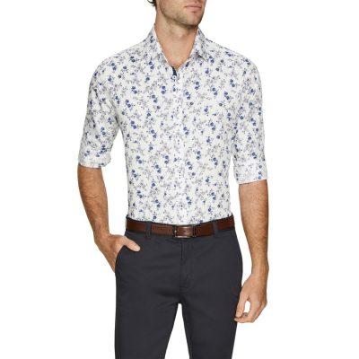 Fashion 4 Men - Tarocash Botanical Slim Print Shirt Blue Xxl