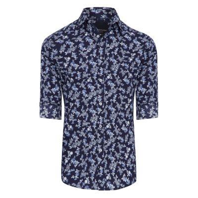 Fashion 4 Men - Tarocash Botanical Slim Print Shirt Navy Xl