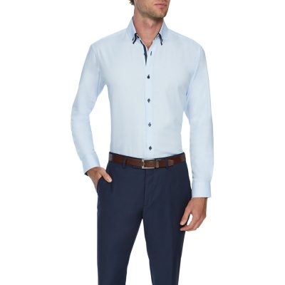 Fashion 4 Men - Tarocash Bowery Mini Check Shirt Sky Xxxl