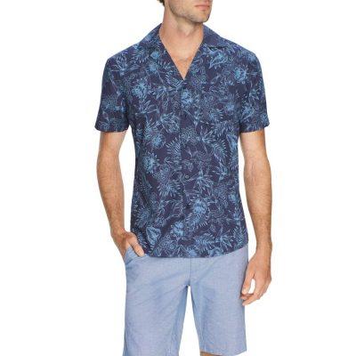Fashion 4 Men - Tarocash Cuban Print Shirt Navy M