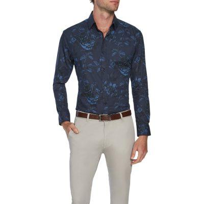 Fashion 4 Men - Tarocash Devon Slim Floral Print Shirt Blue L