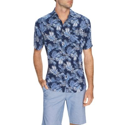 Fashion 4 Men - Tarocash Havana Palm Shirt Navy S