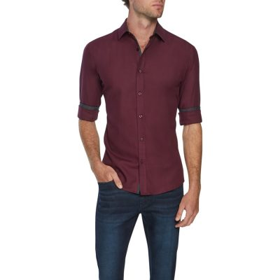 Fashion 4 Men - Tarocash Idris Textured Slim Shirt Burgundy L