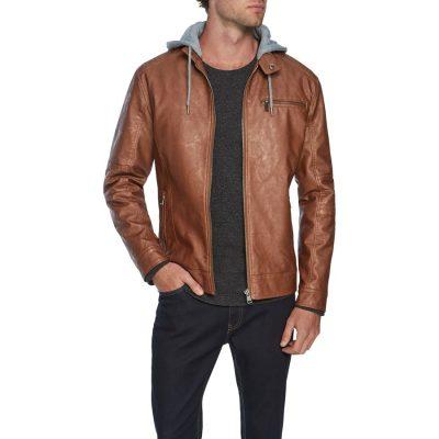 Fashion 4 Men - Tarocash James Hooded Pu Jacket Tan Xl