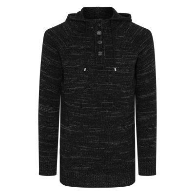 Fashion 4 Men - Tarocash Jamie Hooded Knit Charcoal Xl
