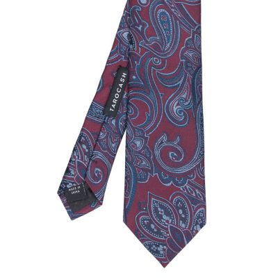 Fashion 4 Men - Tarocash Jeffries Silk Paisley Tie Burgundy 1